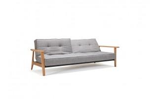 Sofa Splitback z drewnianymi podłokietnikami