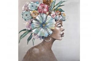 Obraz 100x100cm Kwiaty na głowie