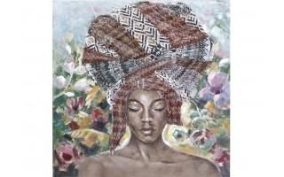 Obraz 120x120cm Kobieta i turban