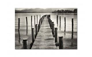 Obraz szklany 120x80 Jezioro i molo