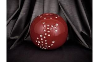 Świecznik ceramiczny kula śr. 14 cm (bordo)