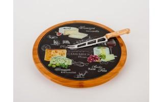 Deska obrotowa 32 cm z nożem do sera