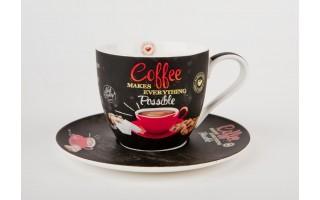 Filiżanka ze spodkiem Coffee - brown