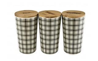 Zestaw pojemników bambusowych kratka