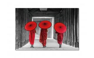 Obraz szklany 120x80 Czerwone parasole