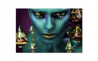 Obraz szklany 120x80 Kobieta neon