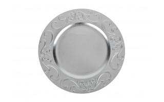 Talerz ozdobny 33cm srebrny