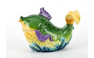 Pojemnik ceramiczny Ryba zielona