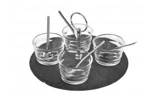 Płyta do serwowania + miski + łyżeczki