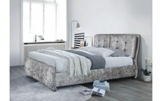 Łóżko tapicerowane Happy (szary melanż)