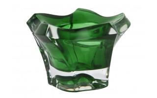 Świecznik kryształowy zielony Bohemia