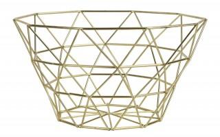 Koszyk na owoce metalowy złoty 34cm