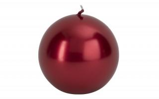 Świeca kula czerwony metalik śr. 10cm